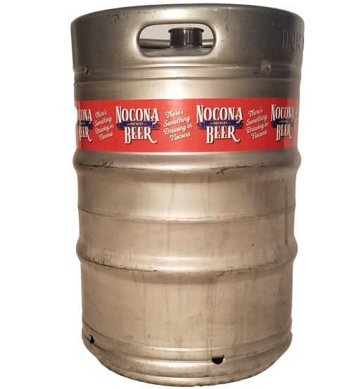 4 color keg wrap printed for Nocona Beer company installed on a 1/2 barrel keg