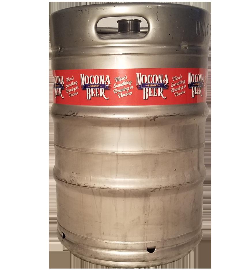 4 color digital keg wrap printed for Nocona Beer company and installed on a 1/2 barrel keg