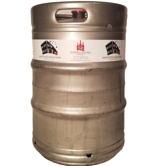 custom printed 2 color keg wrap for North Shore Winery installed on a 1/2 barrel keg