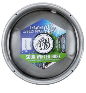 custom printed hexagon shaped keg collar for Pearl Street Brewery placed on sixth barrel keg