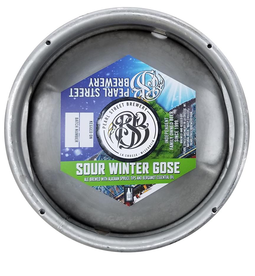 custom printed hexagon shaped keg collar for Pearl Street Brewery placed on sixth barrel keg