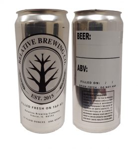 custom crowler can label sample printed for Realative Brewing on clear label stock with white ink and black ink for no look labels