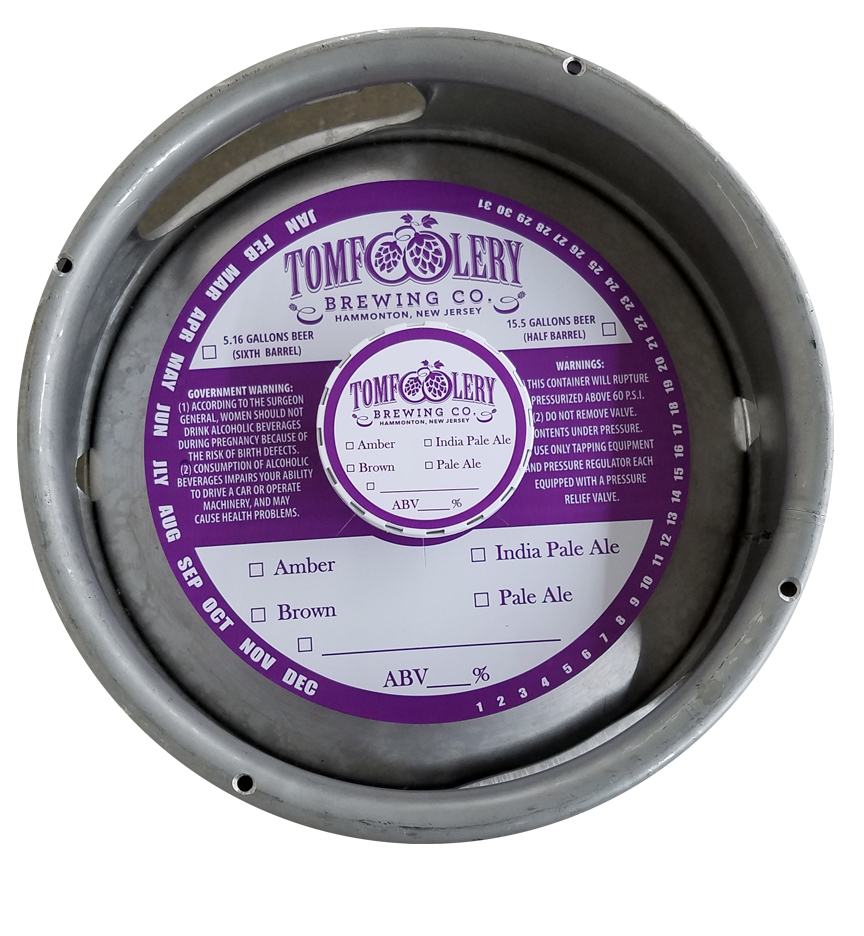actual printed sample of a 1 color keg collar for Tom Foolery Brewing placed on a sixth barrel