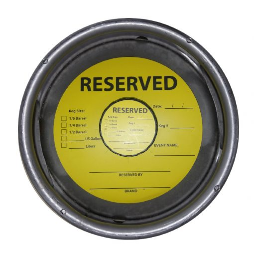 Reserved stock keg collar printed yellow and black for breweries to help orgainize inventory or for events placed on a sixth barrel keg