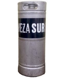 custom printed black and white keg wrap printed for Veza Sur Brewing Co. installed on 1/6 barrel