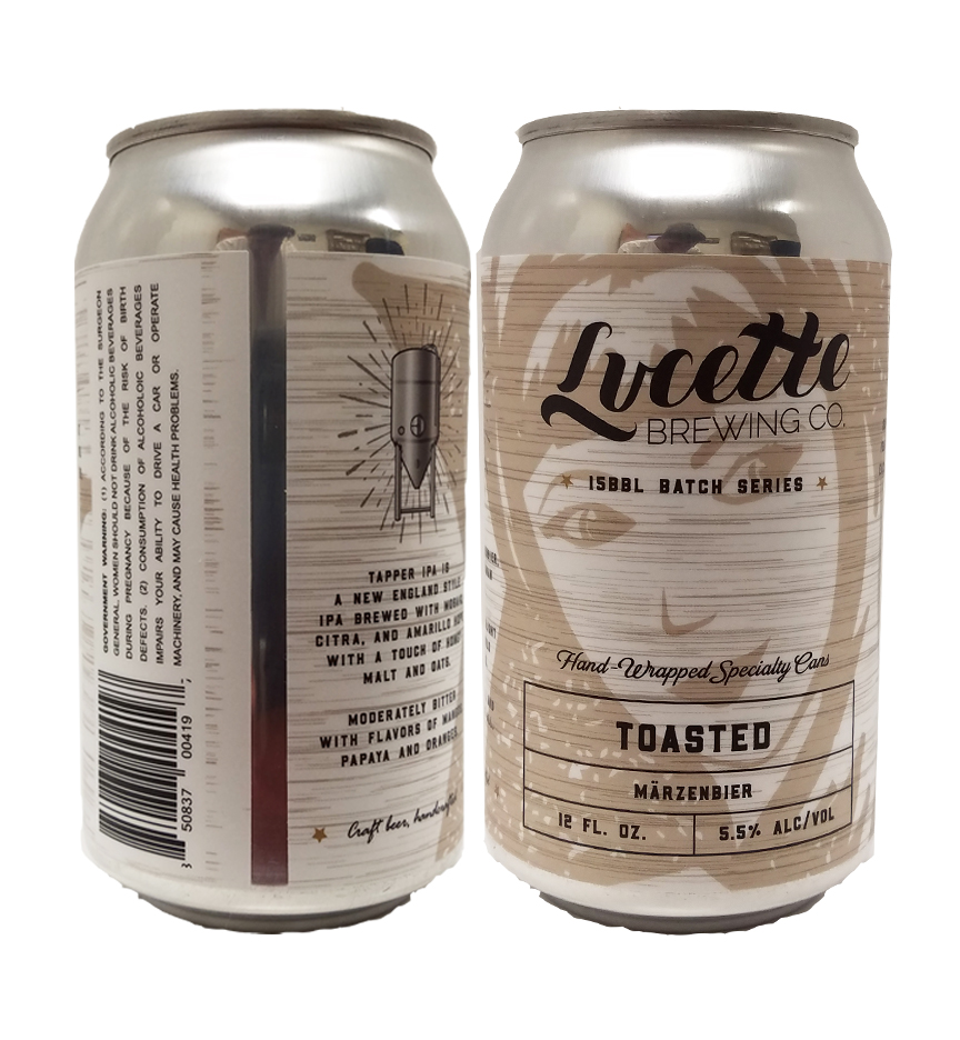 Lucette Brewing beer can with our custom printed digital can label applied to can showing front and back view