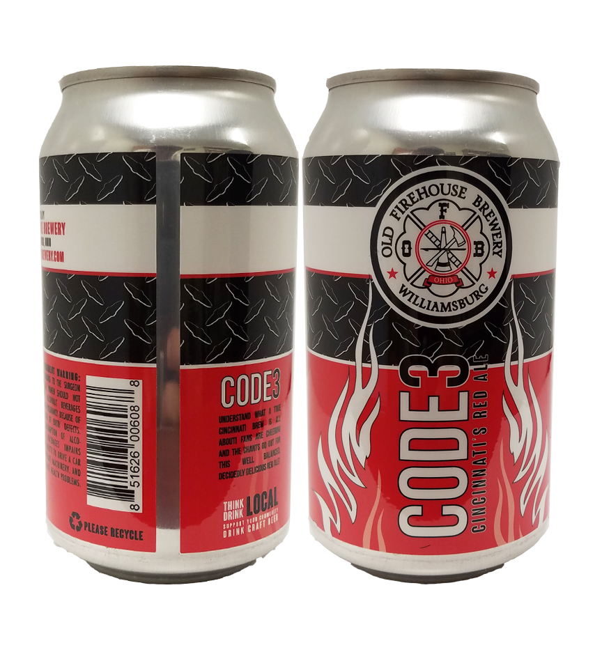 Old Firehouse Brewery Code 3 can labels on a 12 oz. can