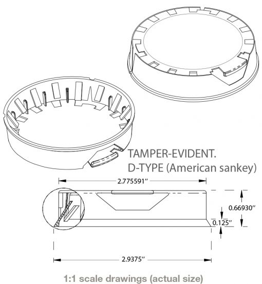 Tamper Evident keg cap drawing showing dimensions to fit American Sankey keg necks