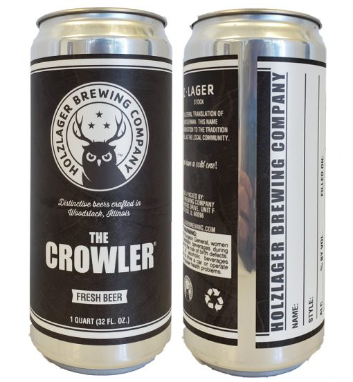 32 oz custom printed crowler label applied to 32 oz crowler can