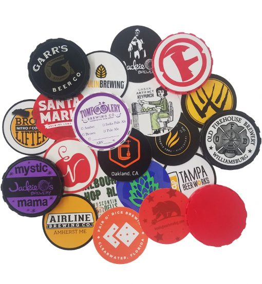 custom printed keg cap stickers arranged in a collage with keg caps