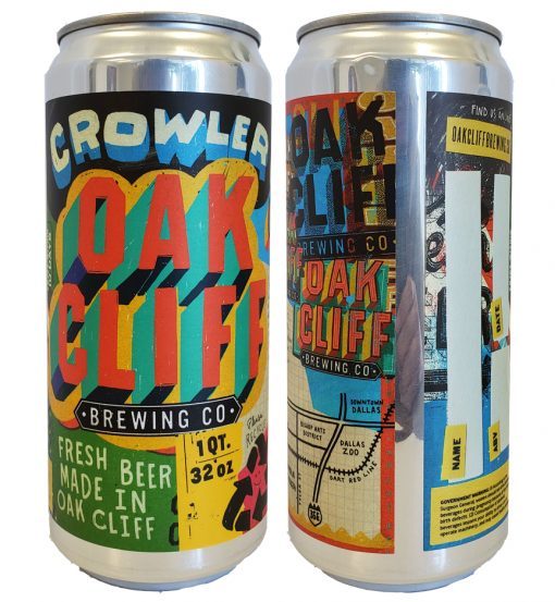 "custom full color 5.875"" x 10"" crowler label applied to 32 oz crowler can"