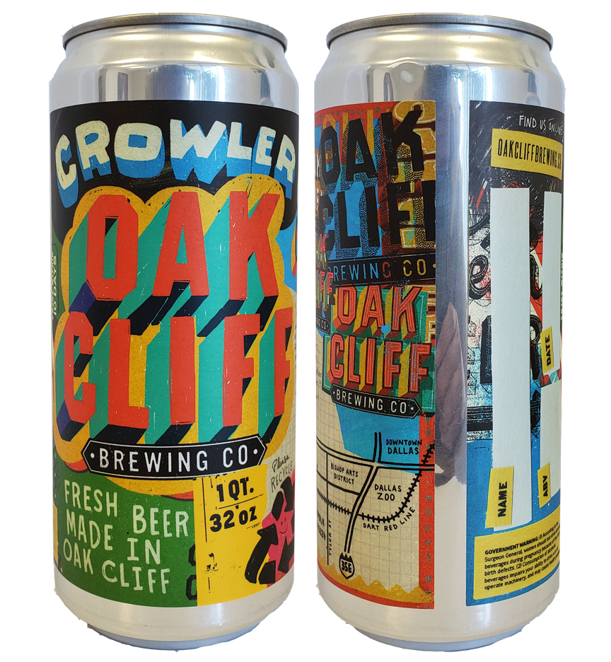"""custom full color 5.875"""" x 10"""" crowler label applied to 32 oz crowler can"""