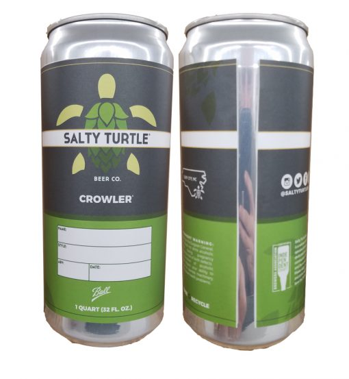 32 oz. Crowler can label applied to can showing the front and the back of the can for Salty Turtle Brewing Co.