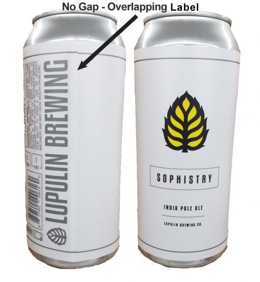 16 oz can with label applied showing an overlap of .125""
