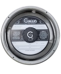 black and white keg collar sample for Gingers Revenge Kombucha