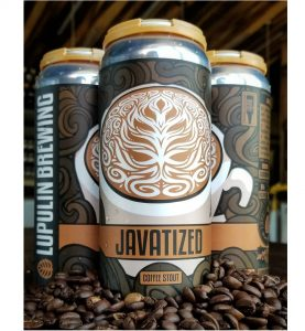 Javatized flavor 16 oz can labels installed on can surrounded by coffee beans