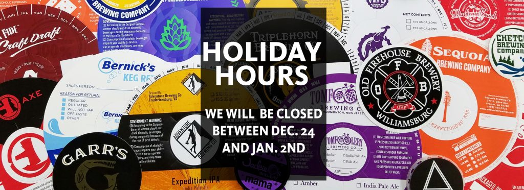 Holiday hours banner with hours of operation between Christmas and New Years stating we are closed